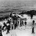 F6F-5N Hellcat of VF(N)-90 USS Enterprise CV-6 after kamikaze attacks against the carrier May 14, 1945