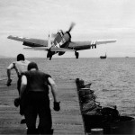 F6F-5 Hellcat D10 of VF-40 launches from the flight deck of the escort carrier Suwanee (CVE-27) August 30, 1945