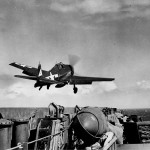 F6F-5 Hellcat of VF-20 launches from the carrier Lexington CV-16 January 25, 1945