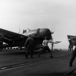 F6F-5 Hellcat of VF-7 on the flight deck of the carrier USS Hancock CV-19 January 12, 1945