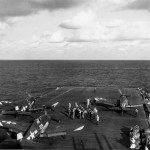 F6F-5 Hellcats of VF-9 on board the carrier USS Lexington CV-16 on February 25, 1945