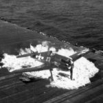 Burning F6F-5 Hellcat white 23 from VF-9 USS Lexington (CV-16) – 25 February 1945