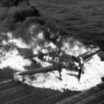 Burning F6F-5 Hellcat white 23 from VF-9 USS Lexington (CV-16) – 25 February 1945 2