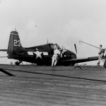 F6F-3 Hellcat #23 of VF-15 belly landing on the flight deck of the carrier Essex CV-9 May 23, 1944