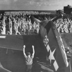 F6F-3 Hellcat 38. Crew during morning exercises at sea USS Yorktown CV-10