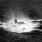 F6F Hellcat #8 of the VF-17, USS Hancock lands on water July 6, 1944