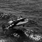 F6F Hellcat #8 of the VF-17, USS Hancock lands on water July 6, 1944 3