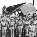 F6F Hellcat #136 aircraft carrier USS Ticonderoga CV-14 August 19, 1945
