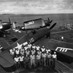 F6F Hellcat #15 of VF-32 on the deck of the light carrier USS Cabot CVL-28 September 19, 1945