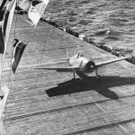 F6F Hellcat Ready for Takeoff from Carrier for Raid on Wake Island October 1943