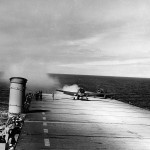 F6F Hellcat during testing of JATO on board the escort carrier USS Altamaha CVE -8 March 1, 1944
