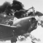 F6F Hellcat 4 on fire on USS Ticonderoga (CV-14)
