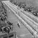 F6F Hellcats – captain's inspection onboard escort carrier
