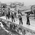 F6F Hellcats and damaged deck