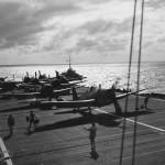 F6F of Fleet Air Arm Hellcat Mk II on deck of HMS Ameer