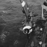 F6F of Fleet Air Arm Hellcat Mk II pushed overboard of HMS Ameer
