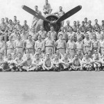 Group photograph of the VF-86 with one of their F6F-5 Hellcats on board the carrier Wasp CV-18 – July 17, 1945