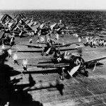 USS Antietam CV-36 F6F Hellcats of Air Group 89 ready for launch of April 17 1945