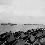 """Murderer's Row"" – USS Wasp CV-18, USS Yorktown CV-10, USS Hornet CV-12 and USS Hancock CV-19 anchored in Ulithi Atoll as seen from the carrier USS Ticonderoga CV-14 December 1944"