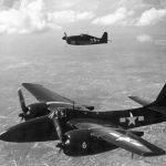Grumman F7F and F6F in flight
