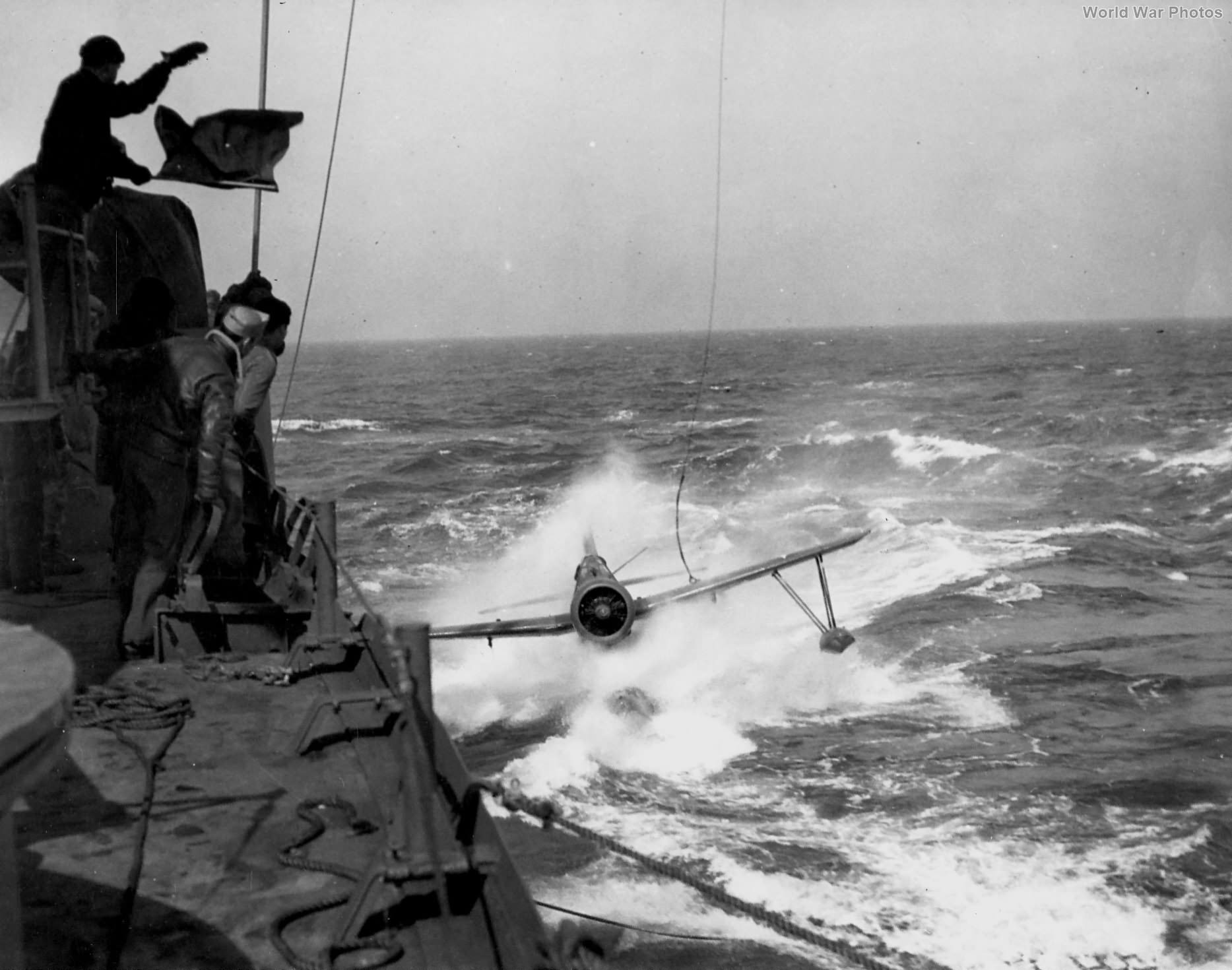 OS2U taxis during recovery operations by the USS South Dakota, 1943