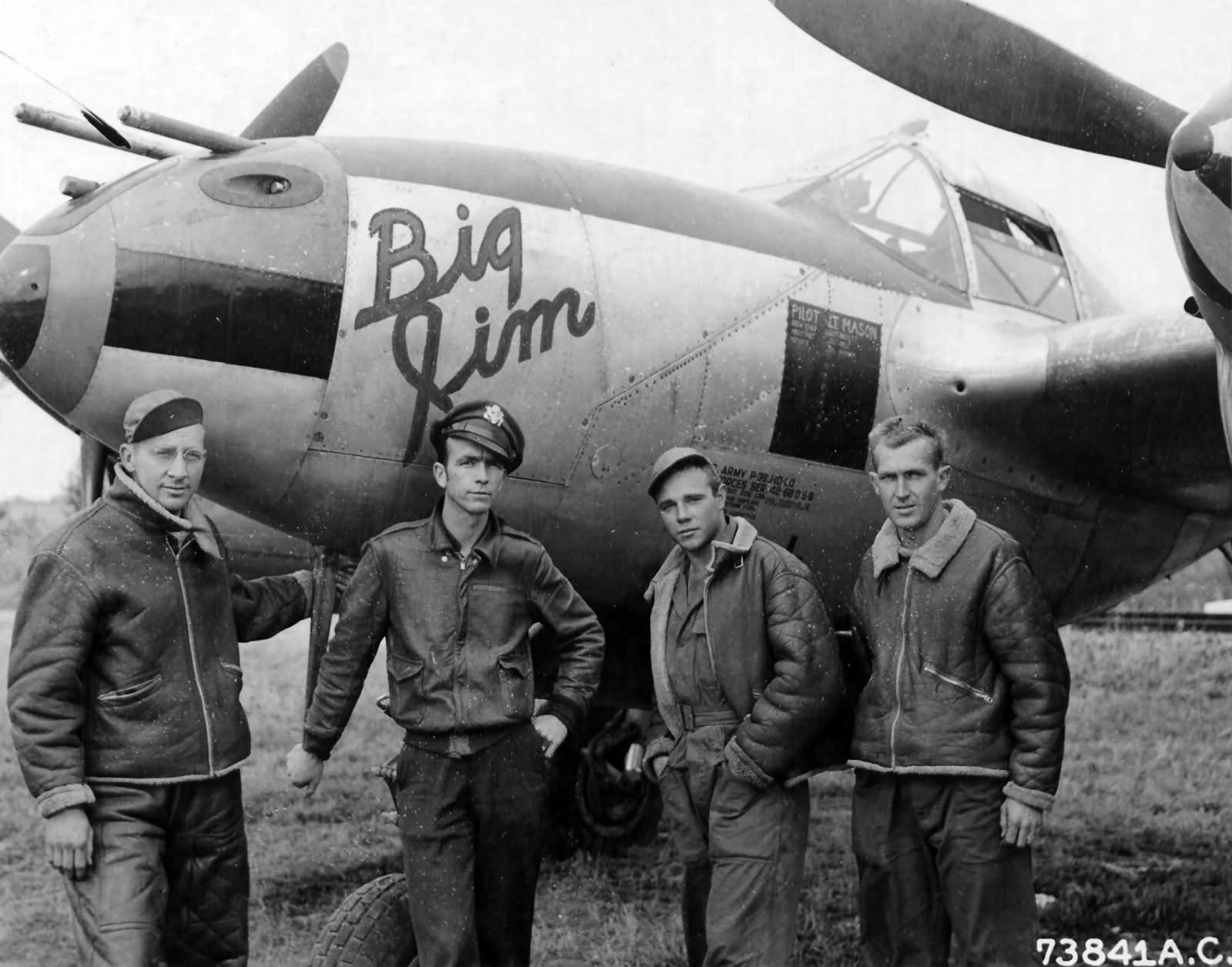 """1lt James Mason 393rd FS 367th Fighter Group with his ground crew and P-38J Lightning 42-68059 """"Big Jim"""""""