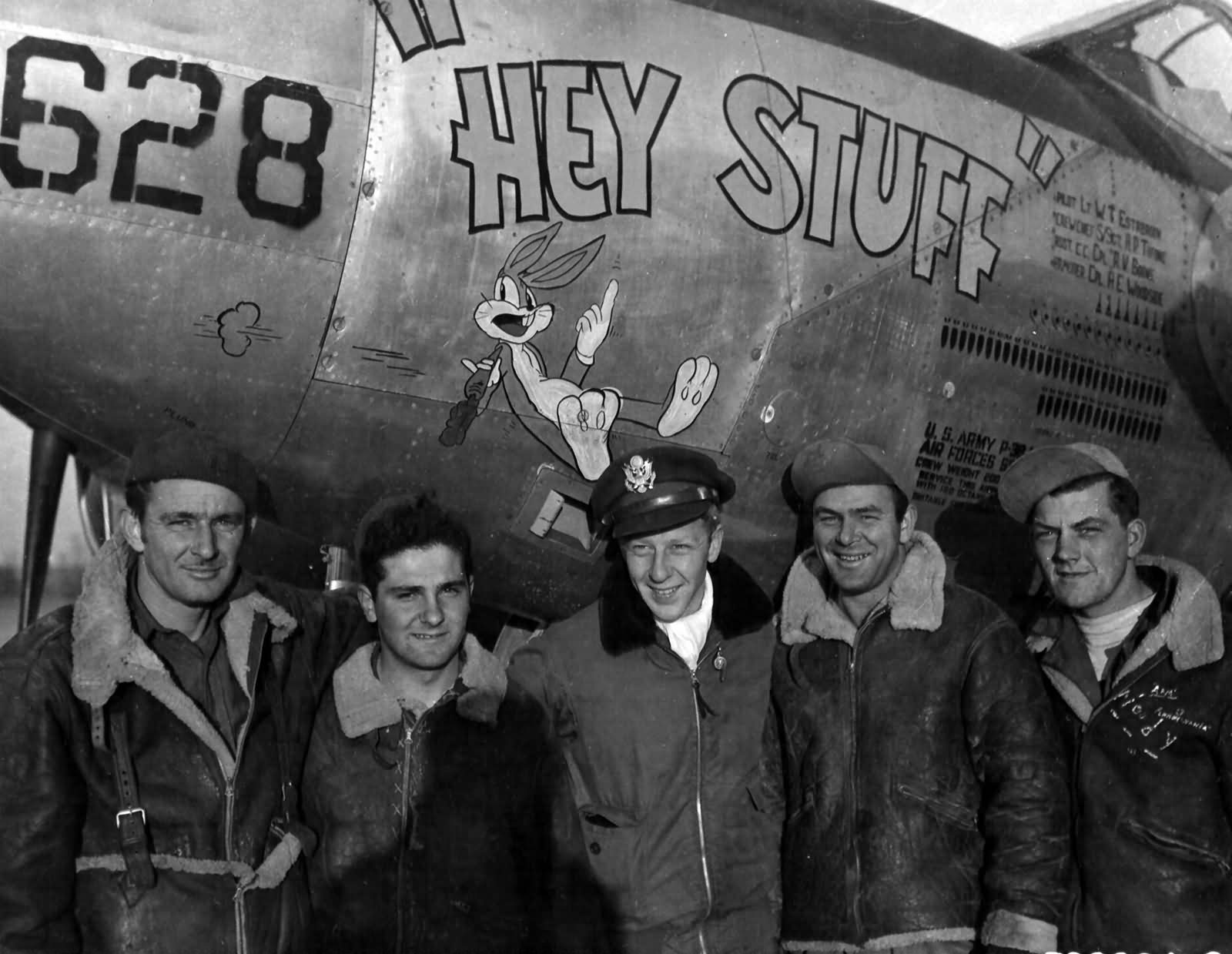 """P-38J Lightning 44-23628 """"Hey Stuff"""" code 4N-L, pilot 1Lt Estabrook of the 394th Fighter Squadron 367th Fighter Group"""
