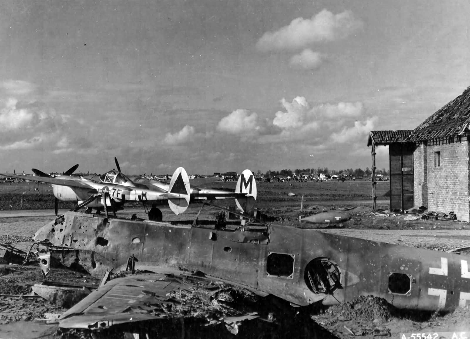 P-38J Lightning code 7F-M of the 485th FS 370th FG during their stay at Florennes Juzaine Airfield A 78 Belgium