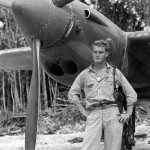 "1Lt John Roehm of the 44th FS ""Vampires"" 18th Fighter Group and his P-38, Guadalcanal"