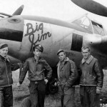 "1lt James Mason 393rd FS 367th Fighter Group with his ground crew and P-38J Lightning 42-68059 ""Big Jim"""