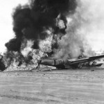 Burning P-38 Lightning after Head On Crash on Leyte