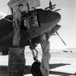 Ground crew member working on a P-38 pilot 2Lt Ward Kuentzel of the 96th FS 82nd FG