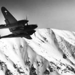 Lockheed P-38 Lightning in flight during World War II