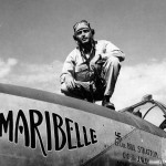LtCol William Stratton 1st FG Operations staff atop his P-38 Lightning named Maribelle