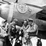 """P-38J Lightning 42-68176 """"Sky Cowboy"""" code LC-I, pilot Lt Walker Whiteside of the 77th FS 20th Fighter Group with his ground crew"""