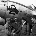 "P-38J 44-23525 ""Maggie 2"", pilot Capt Eugene Hinkley 394th FS 367th FG with the ground crew at Clastres airfield A-71 France, 12 October 1944"