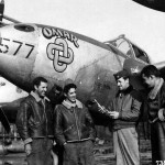 "P-38J 44-23577 ""Omar"" pilot Capt Owen Hansen of the 392nd FS 367th Fighter Group with his ground crew Juvincourt airfield A-68 France"