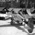 P-38J Lightning 42-67795 of the 44th Fighter Squadron on Guadalcanal in early 1944