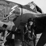 "P-38J Lightning code H5-F, pilot 1Lt Pius Kunz from 392nd FS 367th Fighter Group nose art ""Napoleons Delight Nin"""