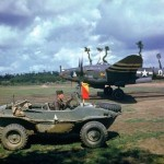 P-38 Lightning code H5-Q of 392nd Fighter Squadron 367th FG and Schwimmagen France 1944 – color photo