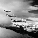 P-38 Lightnings Of the 15th Air Force In Formation Over Yugoslavia