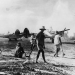 P- 38 Lightnings on Captured Lingayen Airstrip on Luzon 1945