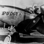 P-38 Lightning Nose Art PUDGY V pilot Thomas McGuire