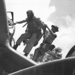 Pilot Lt Faurot Climbs into P-38 Lightning 39th Squadron 35th Fighter Group New Guinea 1943