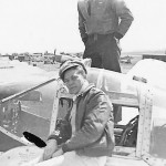 Pilot by Cockpit of His P-38 Fighter Plane
