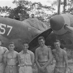 Pilots posed by P-38 of 475th FG with 3 Japanese Kills Recorded