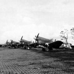 Curtiss P-40N 8th Fighter Group 35th Fighter Squadron parked on an airstrip at Cape Gloucester New Britain