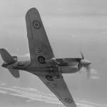 Curtiss P-40 Kittyhawk of the 14 Sqn RNZAF in flight during World War II