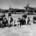 P-40 and Officers Of The 74th Fighter Squadron 23rd Fighter Group