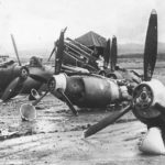 Wreckage of P-40 at Hickam Field after Pearl Harbor Attack